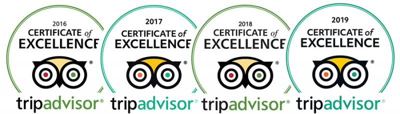 Certificate of Excellence Tripadvisor 2016-2017-2018-2019