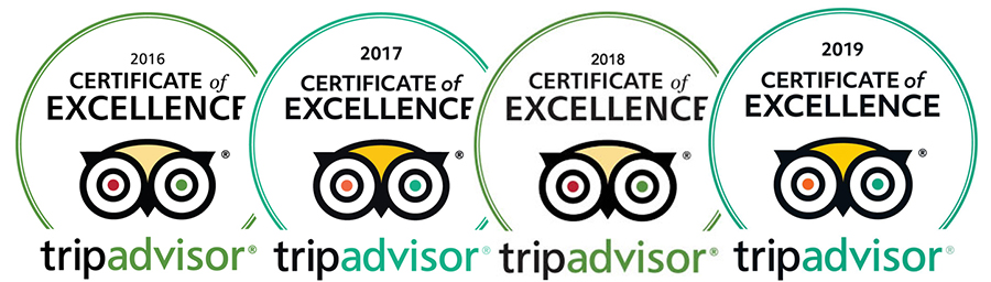 Certificate of Excellence Tripadvisor 2016-2017-2018-2019