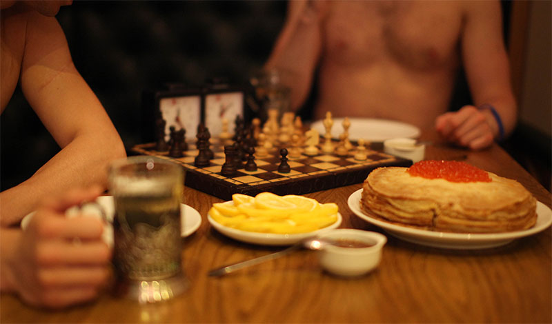 Playing chess in sauna